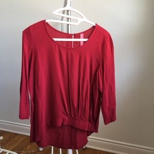 Cherry Red Cinched Long Sleeve Blouse